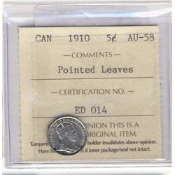 5 Cents 1910, ICCS AU-58; Pointed Leaves.
