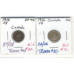 5 Cents 1912 & 1916 EF to AU.