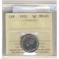 5 Cents 1933, ICCS MS-63.