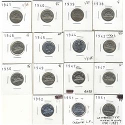 5 Cents 1938, 1939, 1940, 1941, 1942, 1944, 1945, 1946, 1947, 1947ML, 1949, 1950, 1951 Commerative,
