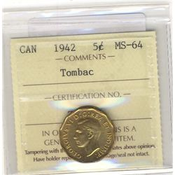 5 Cents 1942 ICCS MS64; Tombac.