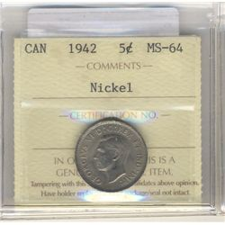 5 Cents 1942, ICCS MS-64; Nickel.