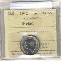 5 Cents 1942, ICCS MS-65; Nickel.
