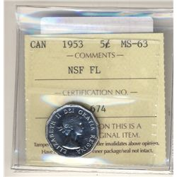 5 Cents 1953 NSF FL ICCS MS63.