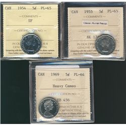 5 Cents 1954, ICCS PL-64, 1955 PL-65 and 1969 PL-64; Heavy Cameo.