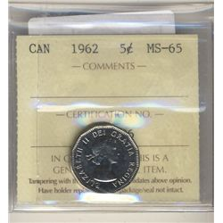 5 Cents 1962, ICCS MS-65.