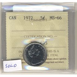 5 Cents 1972, ICCS MS-66.  Solo highest.