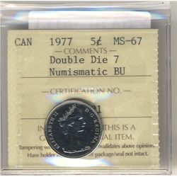 5 Cents 1977, ICCS MS-67; Double Die NBU.