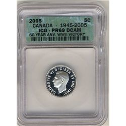 5 Cents 2005, ICG PR-69; DCAM, 60 Year Anv. WWII Victory.