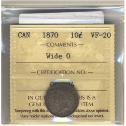10 Cents 1870, ICCS VF-20; Wide 0.