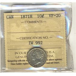 10 Cents 1871H, ICCS VF-20.