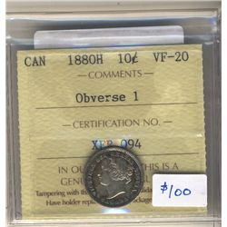 10 Cents 1880H, ICCS VF-20 Obverse 1.