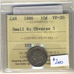 10 Cents 1886, ICCS VF-20 Obverse 5; Small 6.