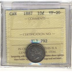 10 Cents 1887, ICCS VF-20.