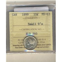10 Cents 1899, ICCS MS-63; Small 9's.