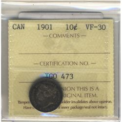 10 Cents 1901, ICCS VF-30.