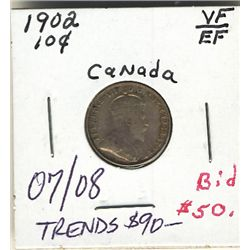 10 Cents 1902 VF to EF.