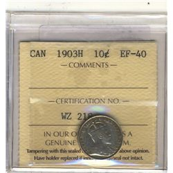 10 Cents 1903H, ICCS EF-40.