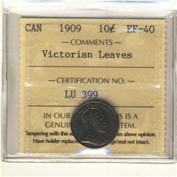 10 Cents 1909, ICCS EF-40; Victorian Leaves.