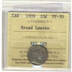 10 Cents 1909, ICCS VF-30; Broad Leaves.