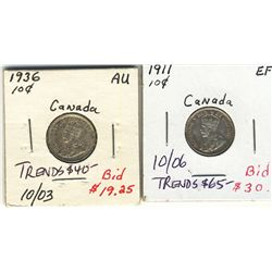 10 Cents 1911 & 1936 EF to AU.