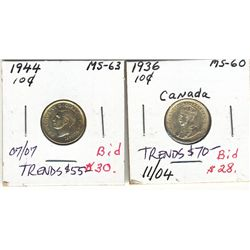 10 Cents 1936 & 1944 MS.