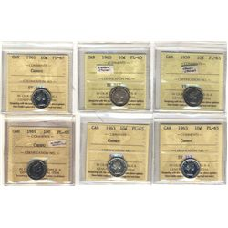 10 Cents 1959,  1960, 1961 Cameo, 1963 Cameo(2) and 1969 Cameo all ICCS PL-65.