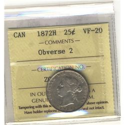 25 Cents 1872H Obv 2 ICCS VF20.