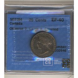 25 Cents 1872H Obv 2, Large 2, Cleaned CCCS EF40