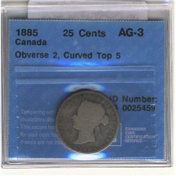 25 Cents 1885, CCCS AG-3; Obvers 2, Curved Top 5.