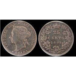 25 Cents 1894, CCCS EF-40; Cleaned. Just a light polishing, no hairlines.