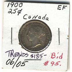 25 Cents 1900 EF.