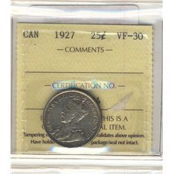 25 Cents 1927, ICCS VF-30.
