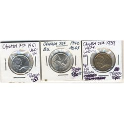 25 Cents 1939,  1942 & 1951 all AU to UNC.