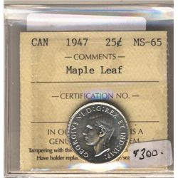 25 Cents 1947, ICCS MS-65; Maple Leaf.