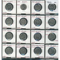25 Cents 1968 to 1999,  Lot of 16 coins all with varieties with mainly clipped planchets.  Has 2 bla