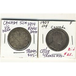 50 Cents 1907 & 1914 VG to Fine.