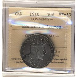 50 Cents 1910, ICCS VF-30; Edwardian Leaves.