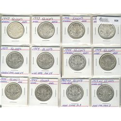 50 Cents 1942 to 1953,  Lot includes Wide and Narrow dates of 1942, 1943, 1944, 1945, 1954 & 1953 Cl