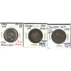 50 Cents 1944, 1945 & 1949 EF to AU+.