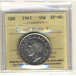 50 Cents 1947 Curved Right 7 ICCS EF40.