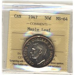 50 Cents 1947, ICCS MS-64; Maple Leaf.