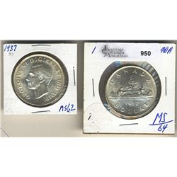 1 Dollar 1937 MS-62 to MS-64.  Lot of 2 coins.