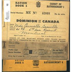 Ration Coupon Book Issued by the Wartime Prices and Trade Board Book 1 to 6, none of the book is com