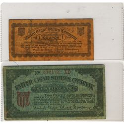 Coupons; United Cigar Stores Company Coupon & Certificate, both representing the purchase 5 Cent & 2