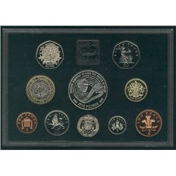1998 Great Britain Proof Set in Deluxe case (red) 10 coins.