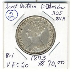 Great Britain, 1873 One Florin; VF.