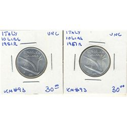 Italy 10 Lire 1951R UNC. Lot of 2 coins.