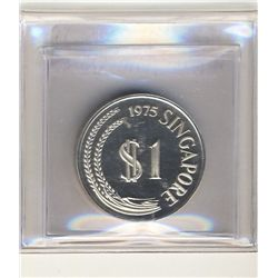 Singapore 1 Dollar 1975 Proof Silver. KM 6a.