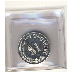 Singapore 1 Dollar 1978 Proof Silver. KM 6a.